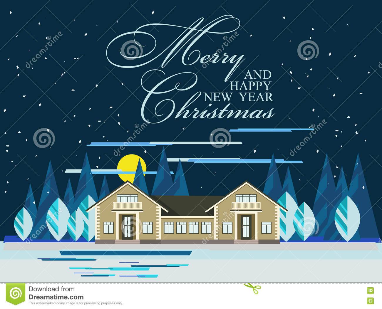 happy new year card or poster nature winter landscape with christmas trees house snow night sky with moon vector illustration in flat style