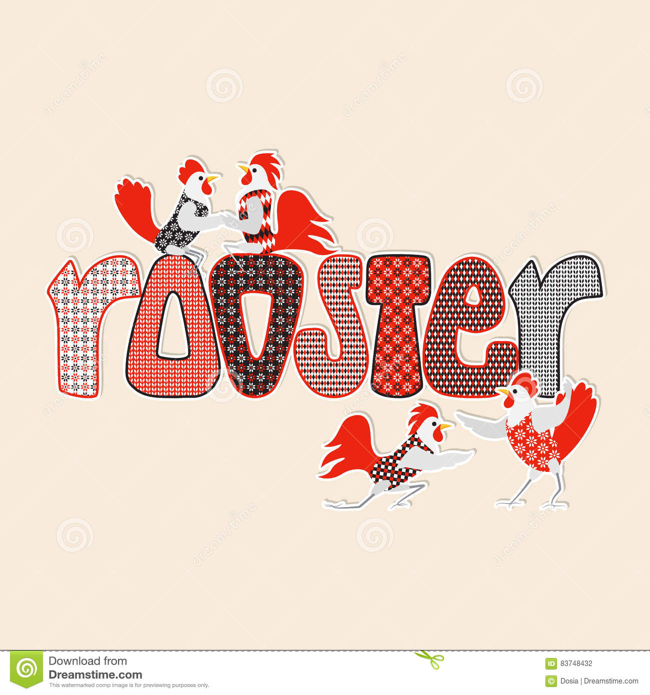 happy new year card with roosters and hens