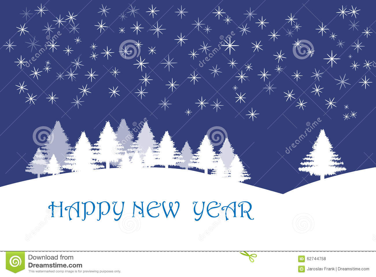 happy new year card with stars in dark blue