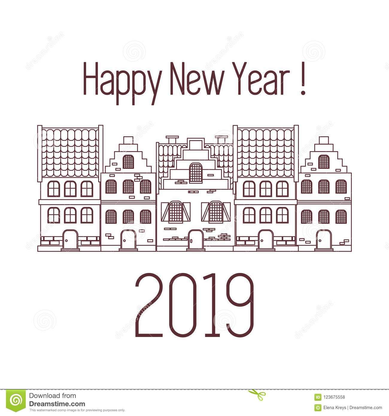 photograph about Printable New Year Cards known as Joyful Fresh Yr 2019 Card. Vector Properties. Inventory Vector