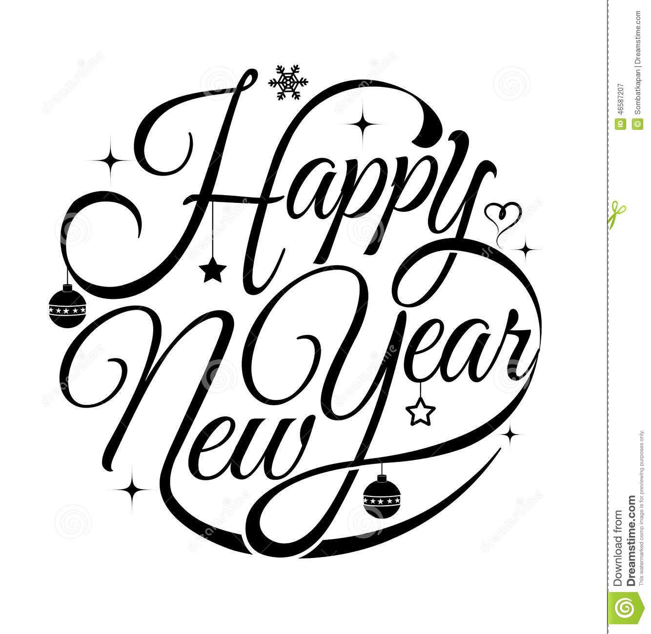 Happy new year card. stock vector. Illustration of ornament - 46587207