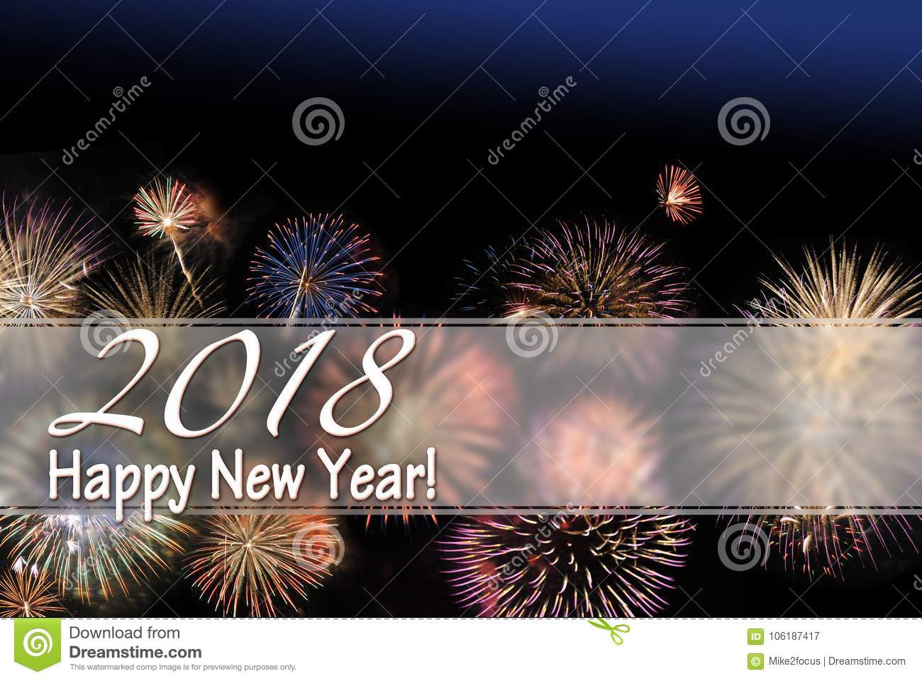 happy new year 2018 card and web banner with fireworks