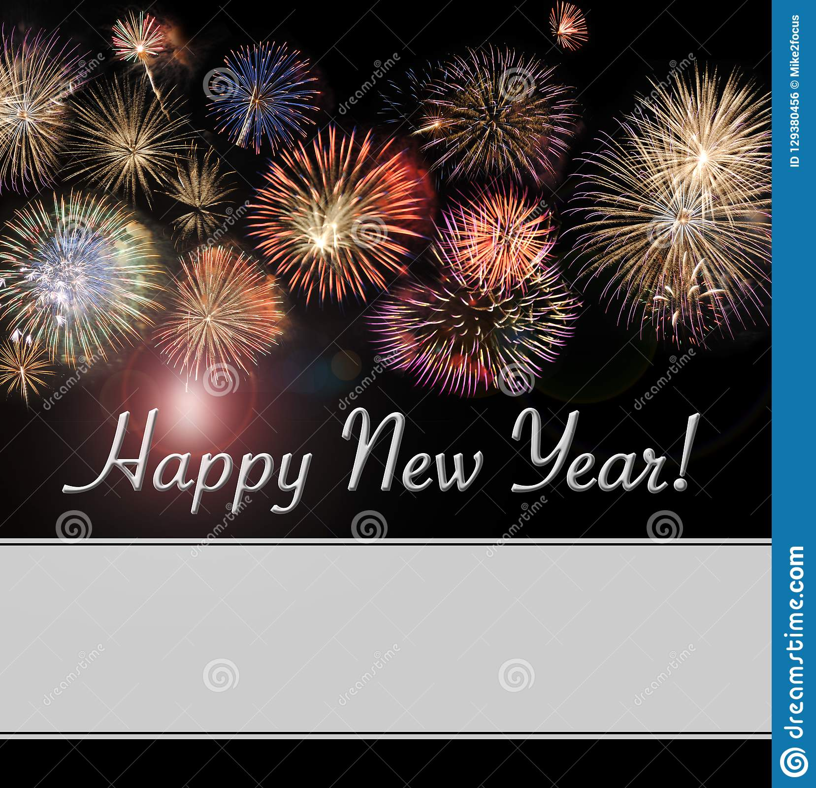happy new year card and web banner with fireworks