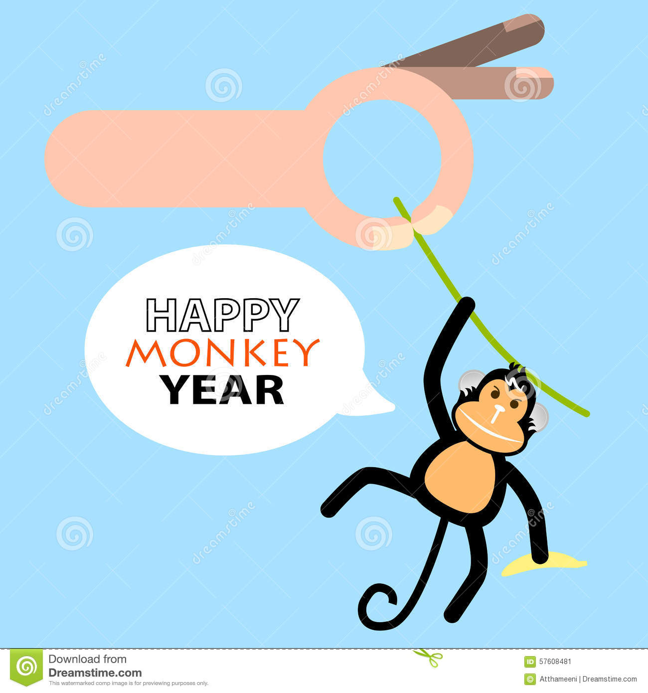 Happy New Year Card 2016 Year Of Monkey Stock Vector Illustration