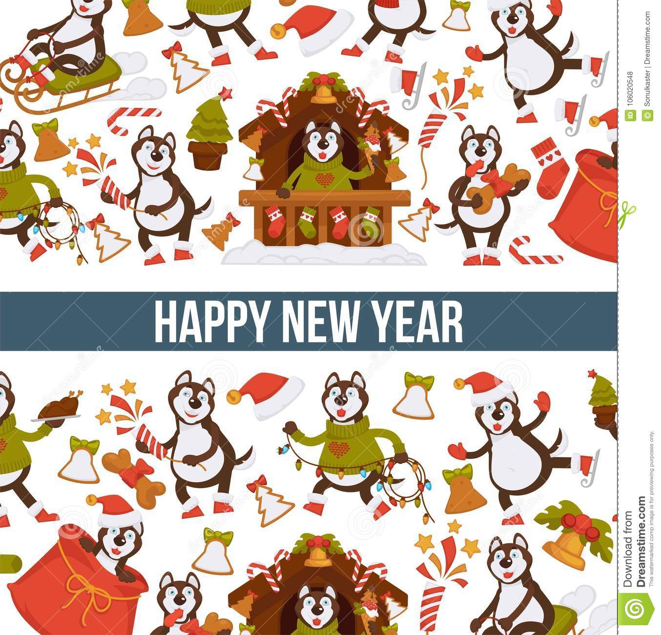happy new year 2018 cartoon dog celebrating holidays greeting card design template