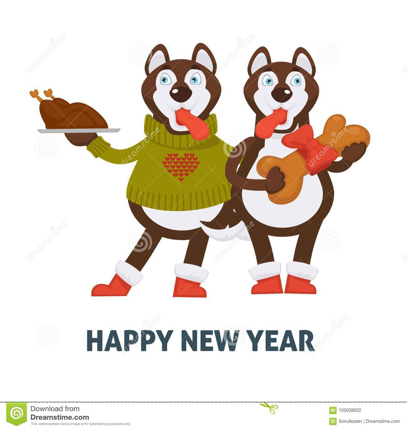 happy new year 2018 dogs cartoon with christmas gingerbread cookie vector greeting card icon