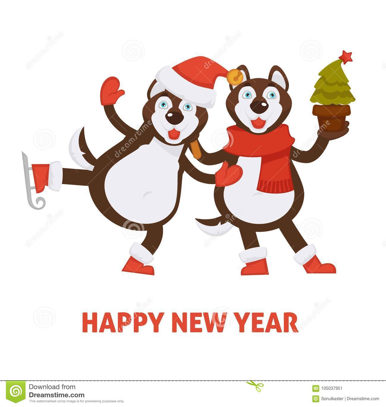 happy new year 2018 dogs cartoon in santa hat and christmas tree vector greeting card icon