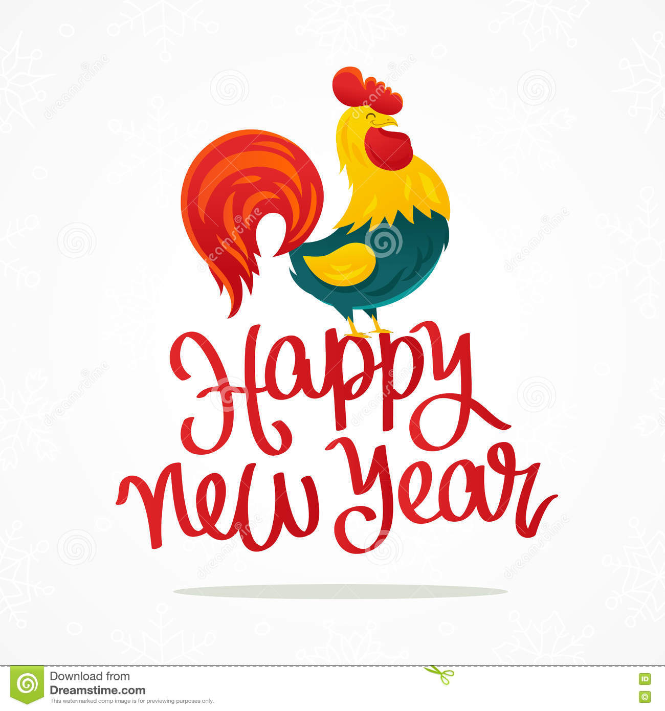 happy new year cartoon drawing of a rooster