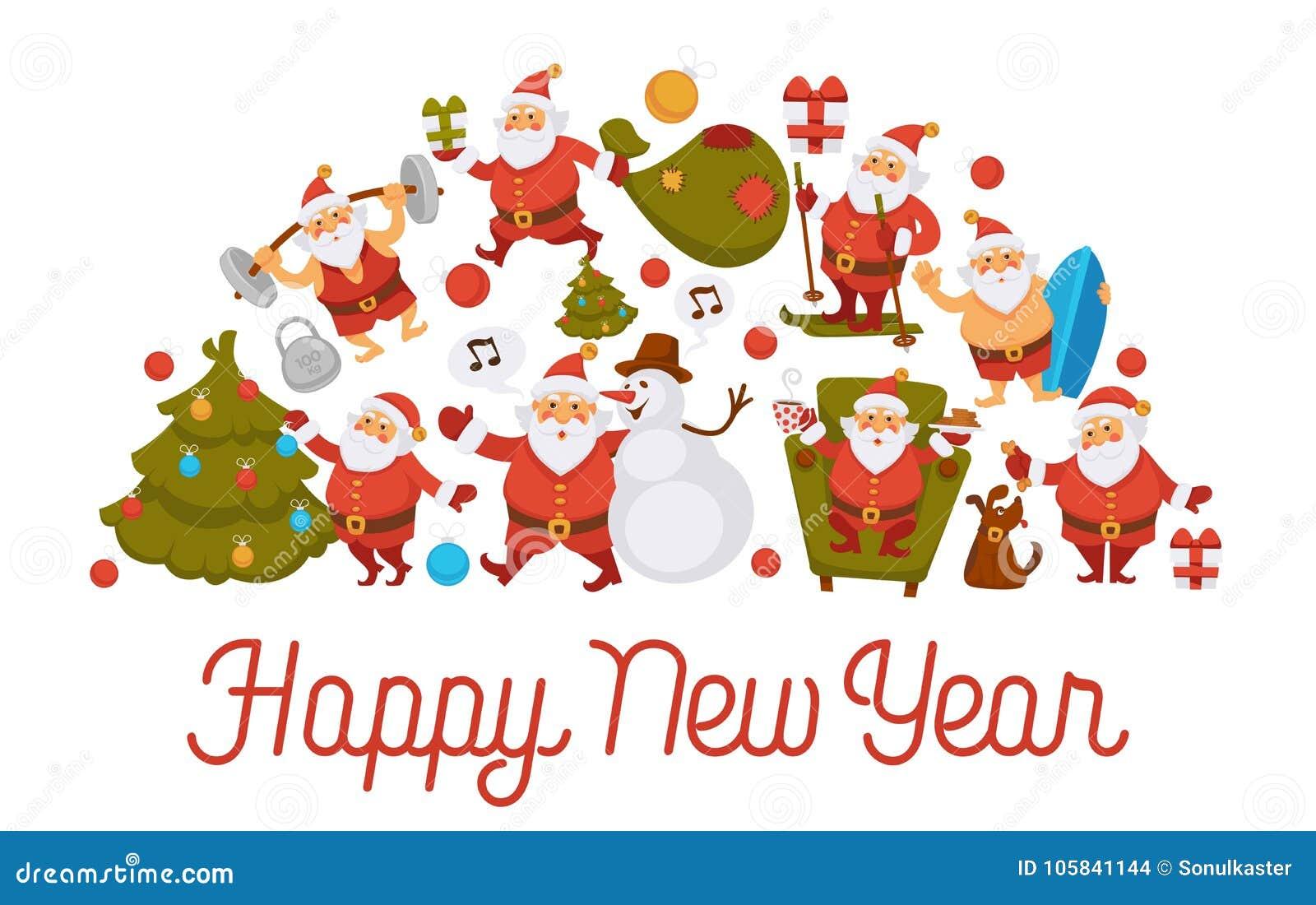 Happy New Year Cartoon Santa Celebrating Holidays Or Having Leisure ...