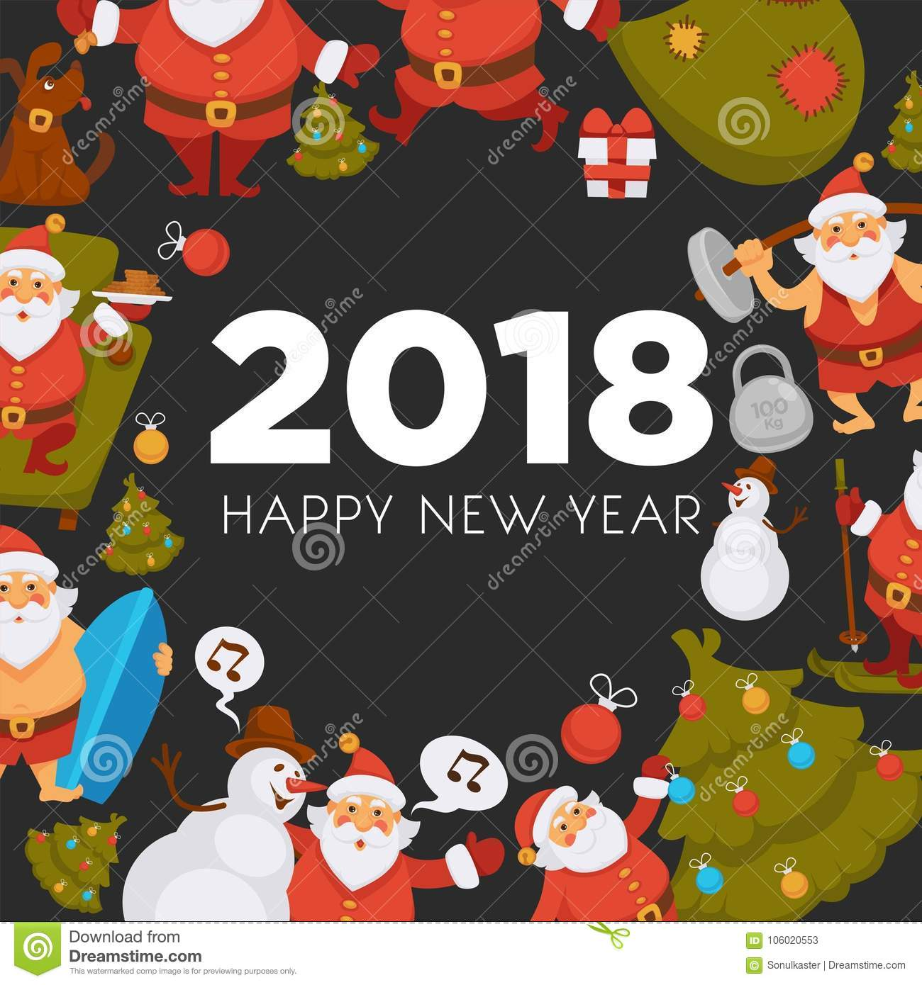 Happy New Year Cartoon Santa Celebrating Holidays Or Having Leisure Summer  Fun Icons For Greeting Card Design.