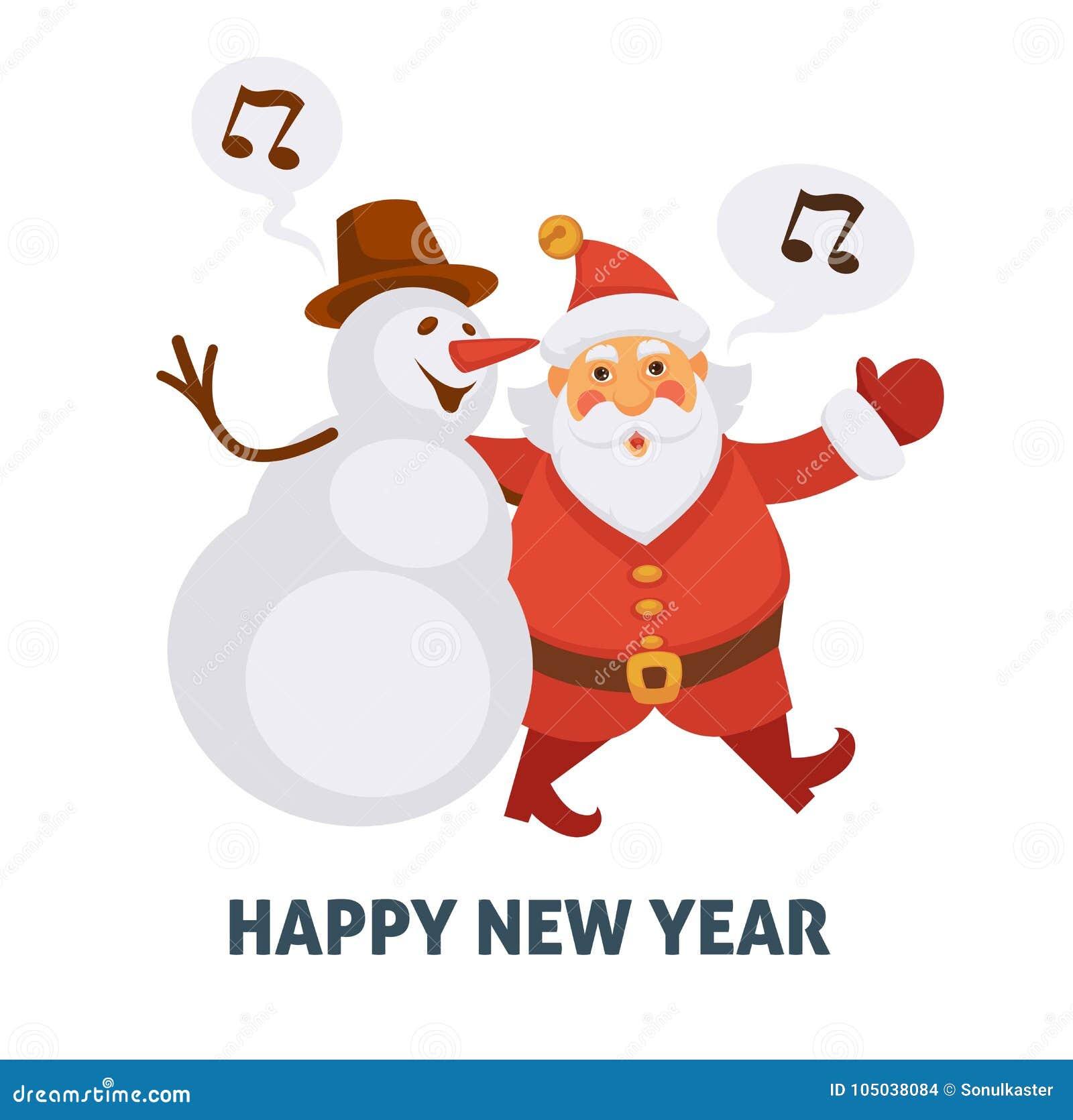 Happy new year cartoon santa and snowman singing christmas song download happy new year cartoon santa and snowman singing christmas song vector greeting card icon stock m4hsunfo