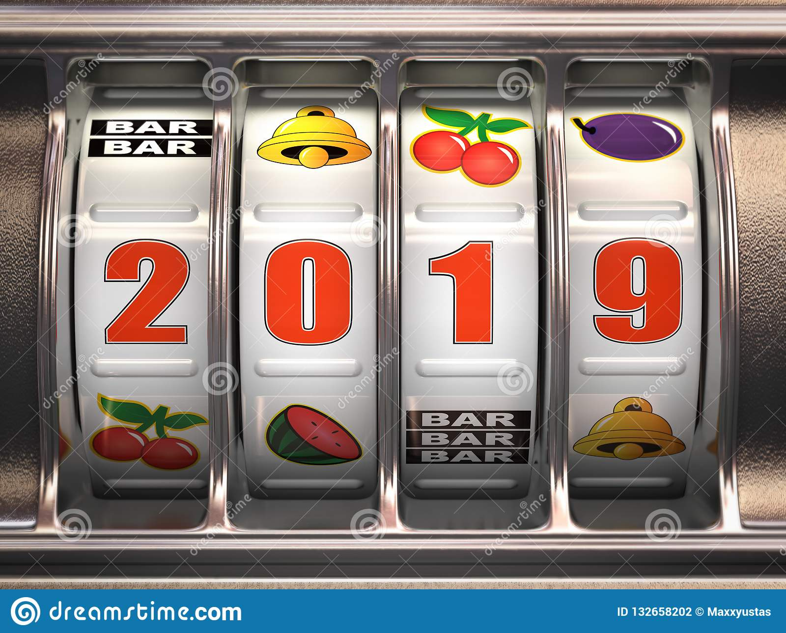 Happy New Year 2019 in casino. Slot machine with jackpot number