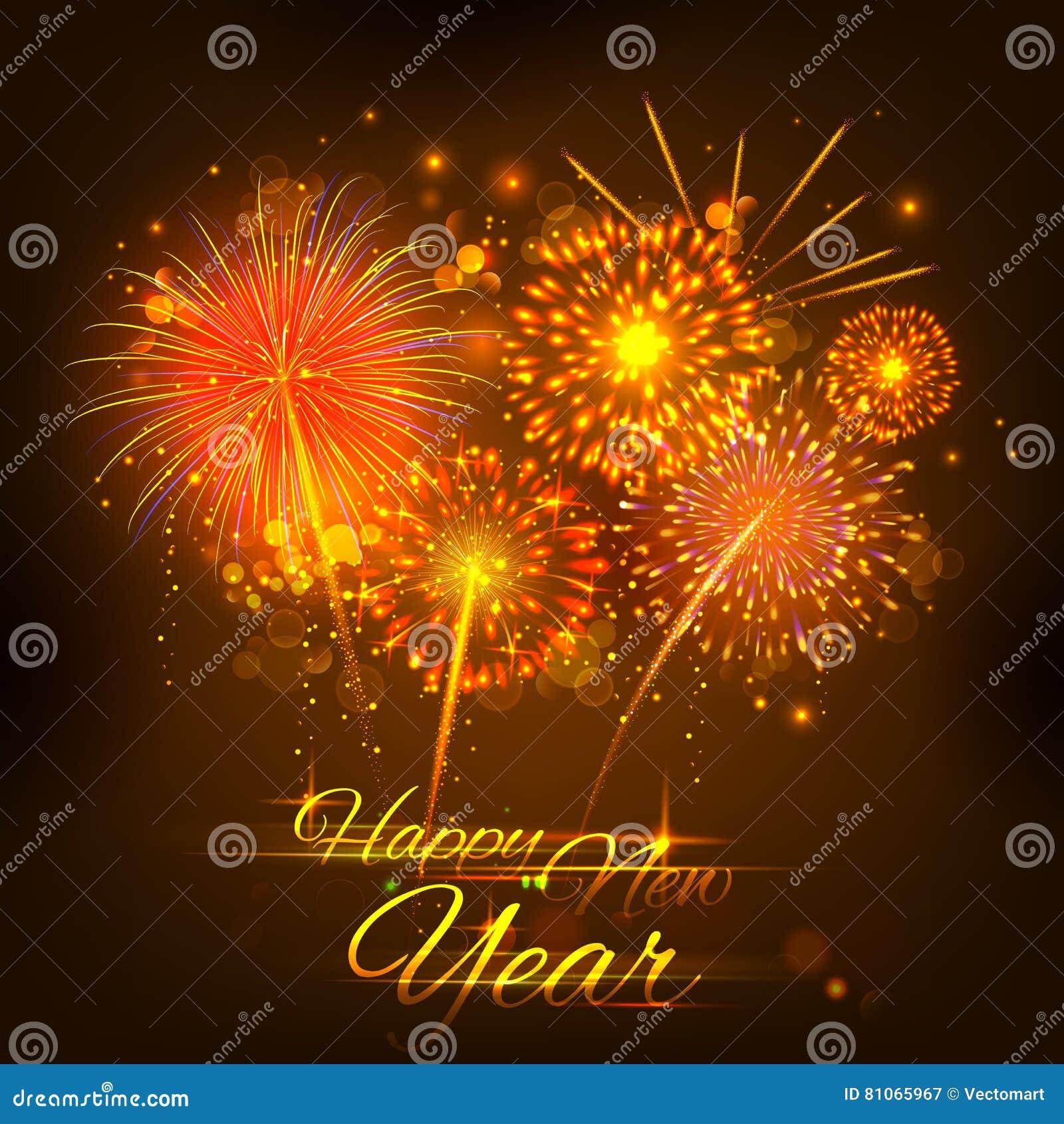 Happy New Year Celebration Abstract Starburst Seasons Greetings