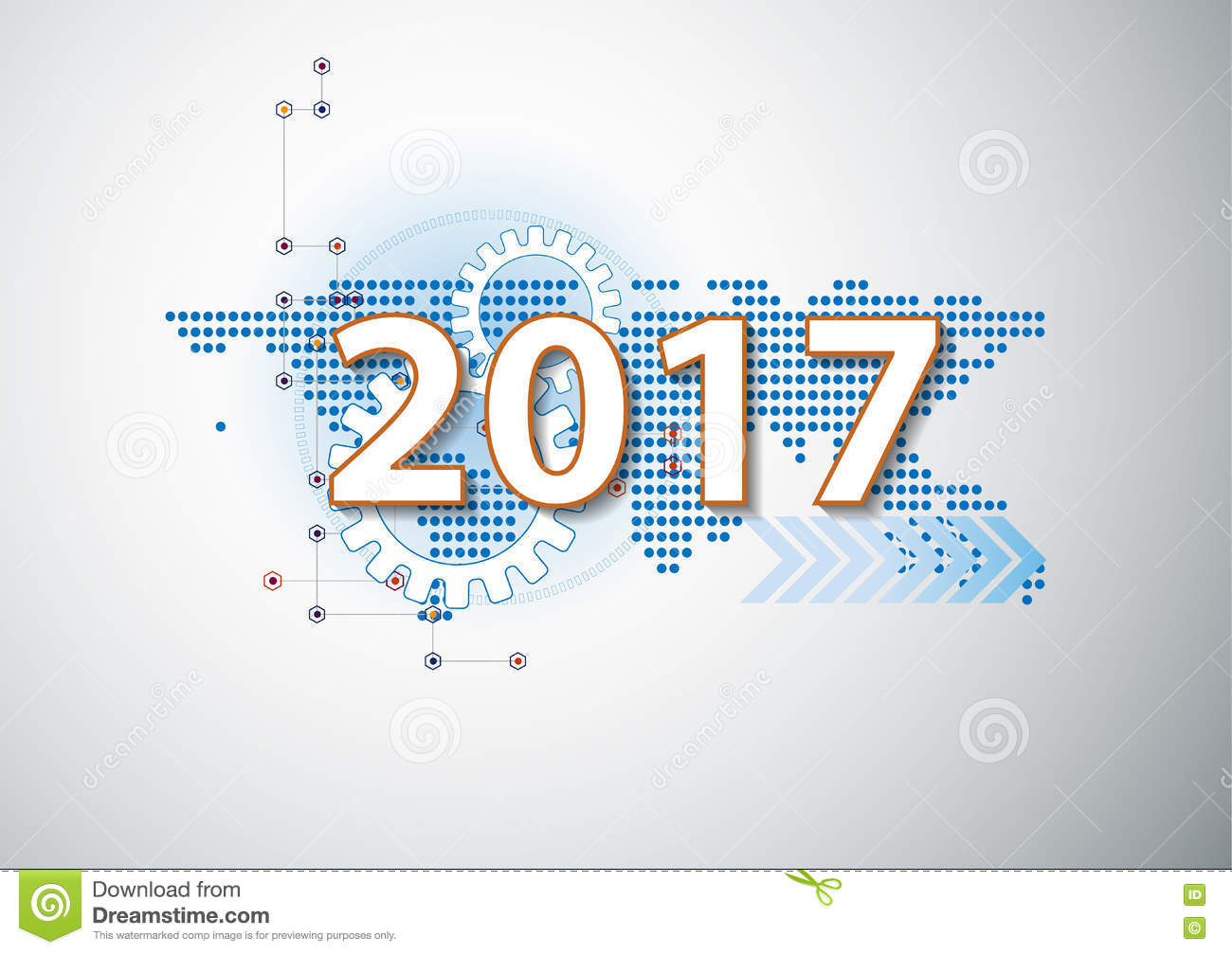 2017 happy new year celebration background in hi technology styl