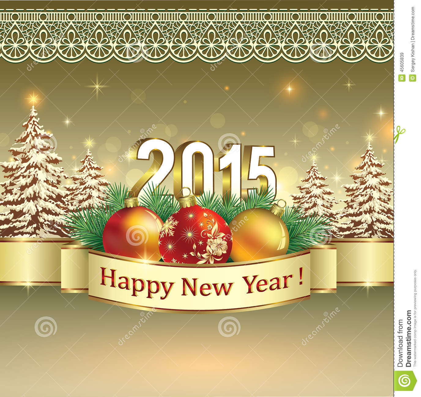 Happy New Year 2015 Celebration Greeting Card Stock Vector