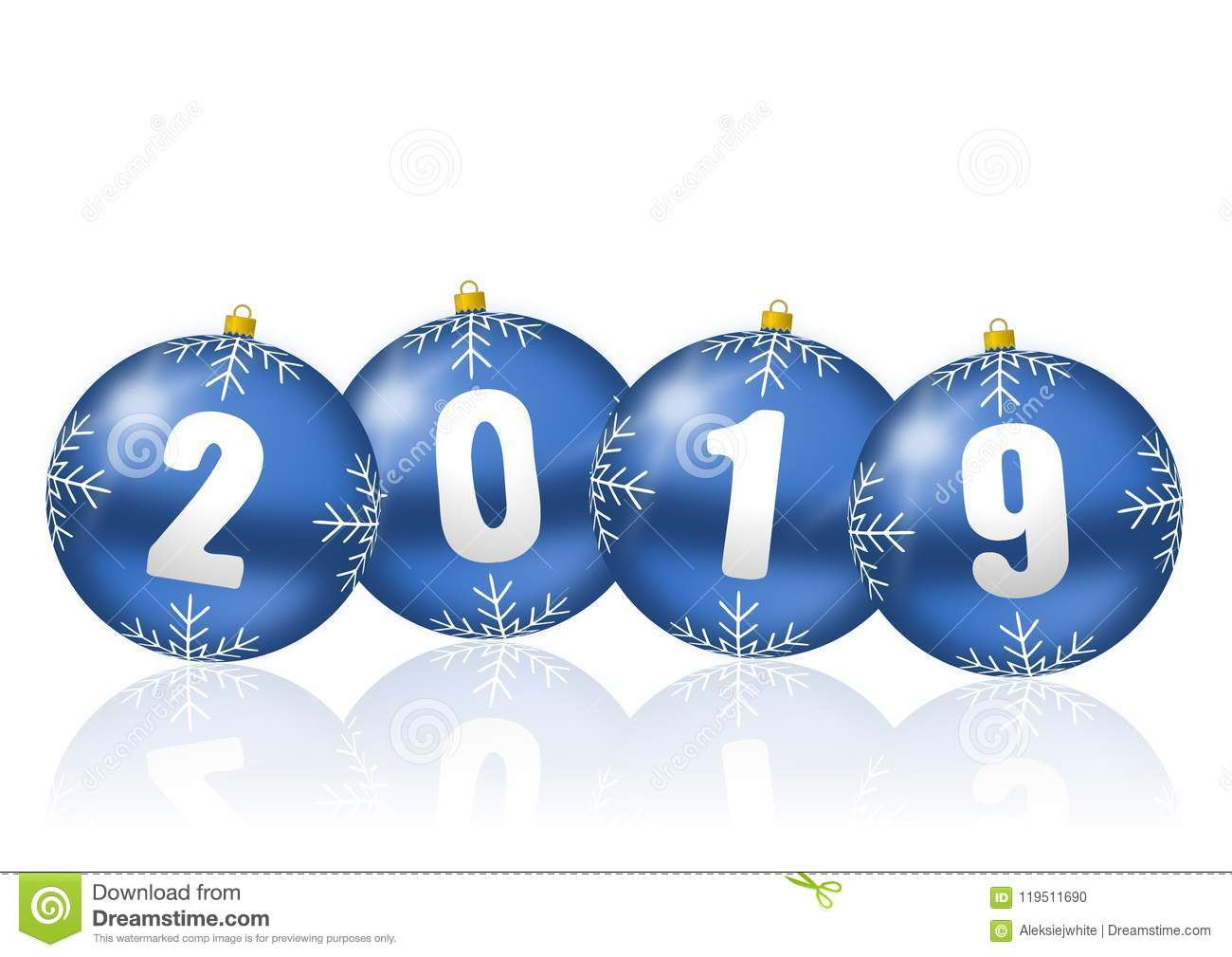 happy new year celebration holiday 2019 greeting card with blue 3d christmas balls illustration on white