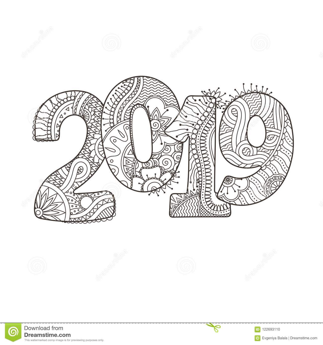 Happy New Year 2019 Celebration Number. Vector Xmas Illustration In ...