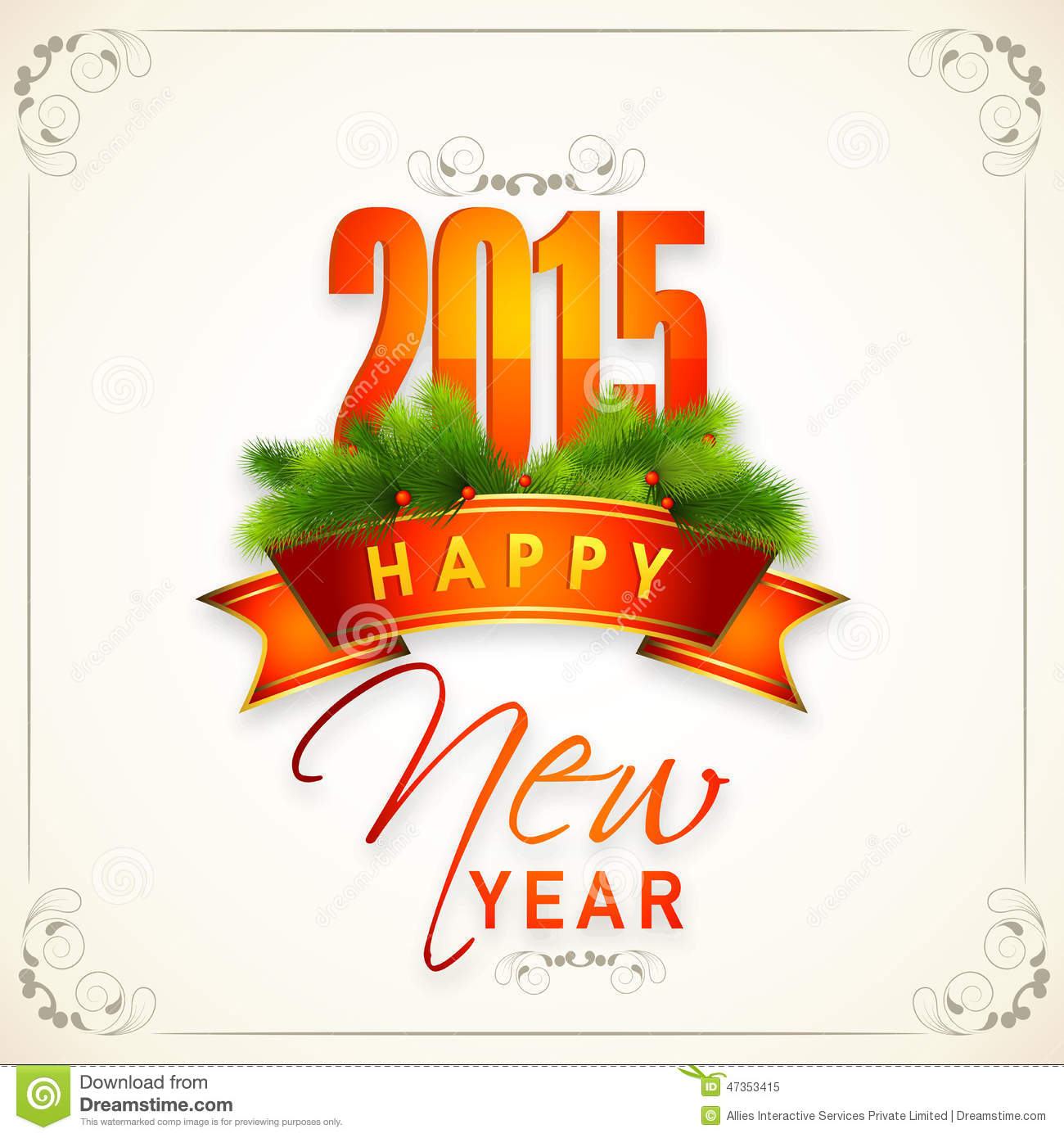 Happy New Year 2015 Celebrations Greeting Card Design ...