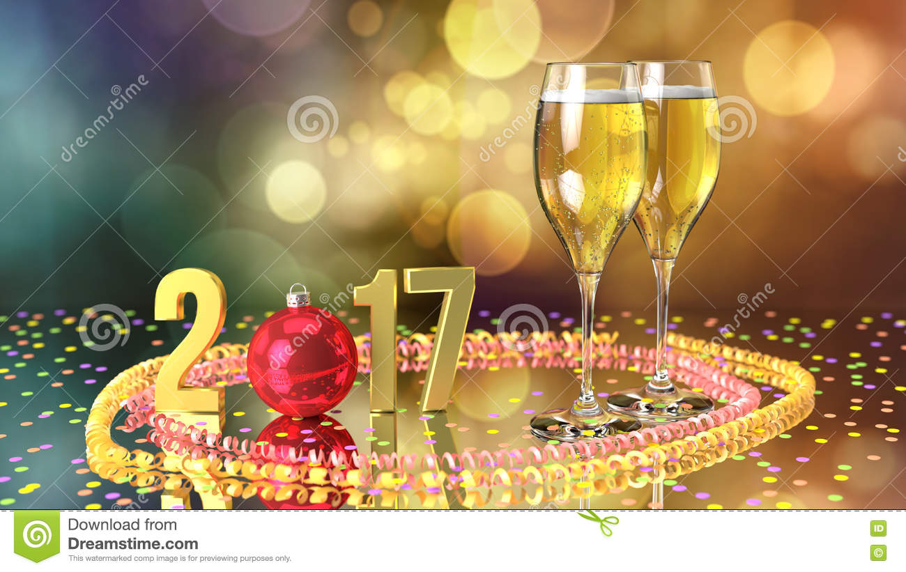 happy new year 2017 with champagne and confetti