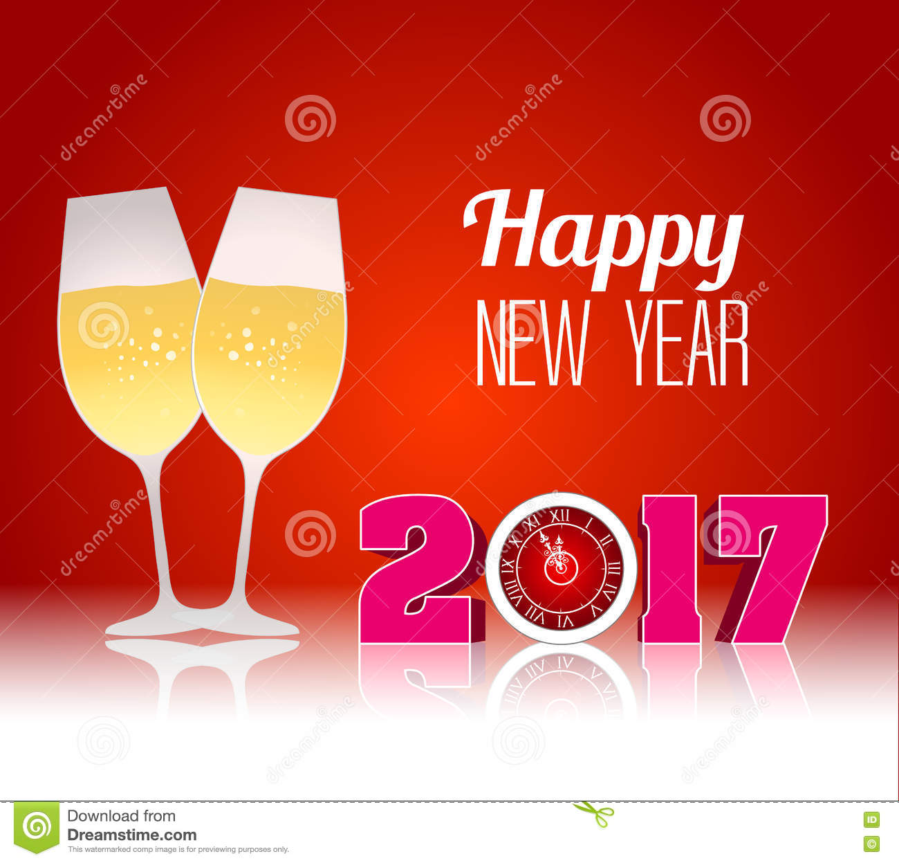 happy new year 2017 with champagne glasses
