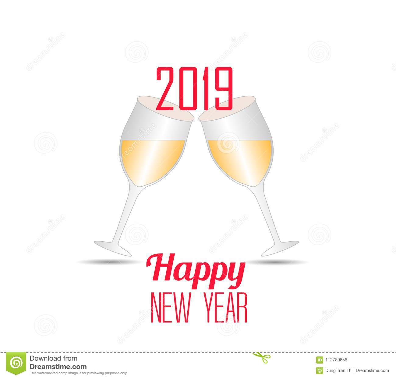 happy new year 2019 with champagne glasses vector