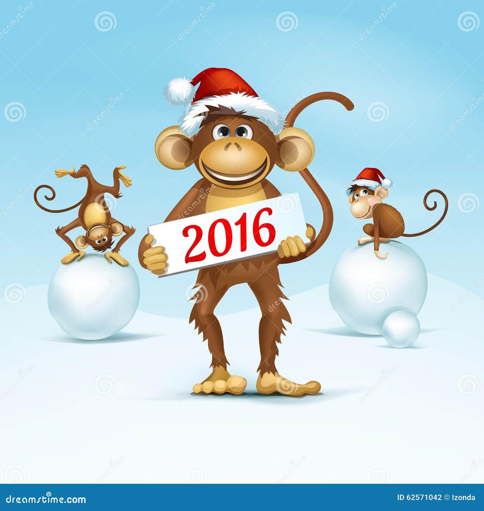 Новый год 2016: открытки с Обезьянками - t 96