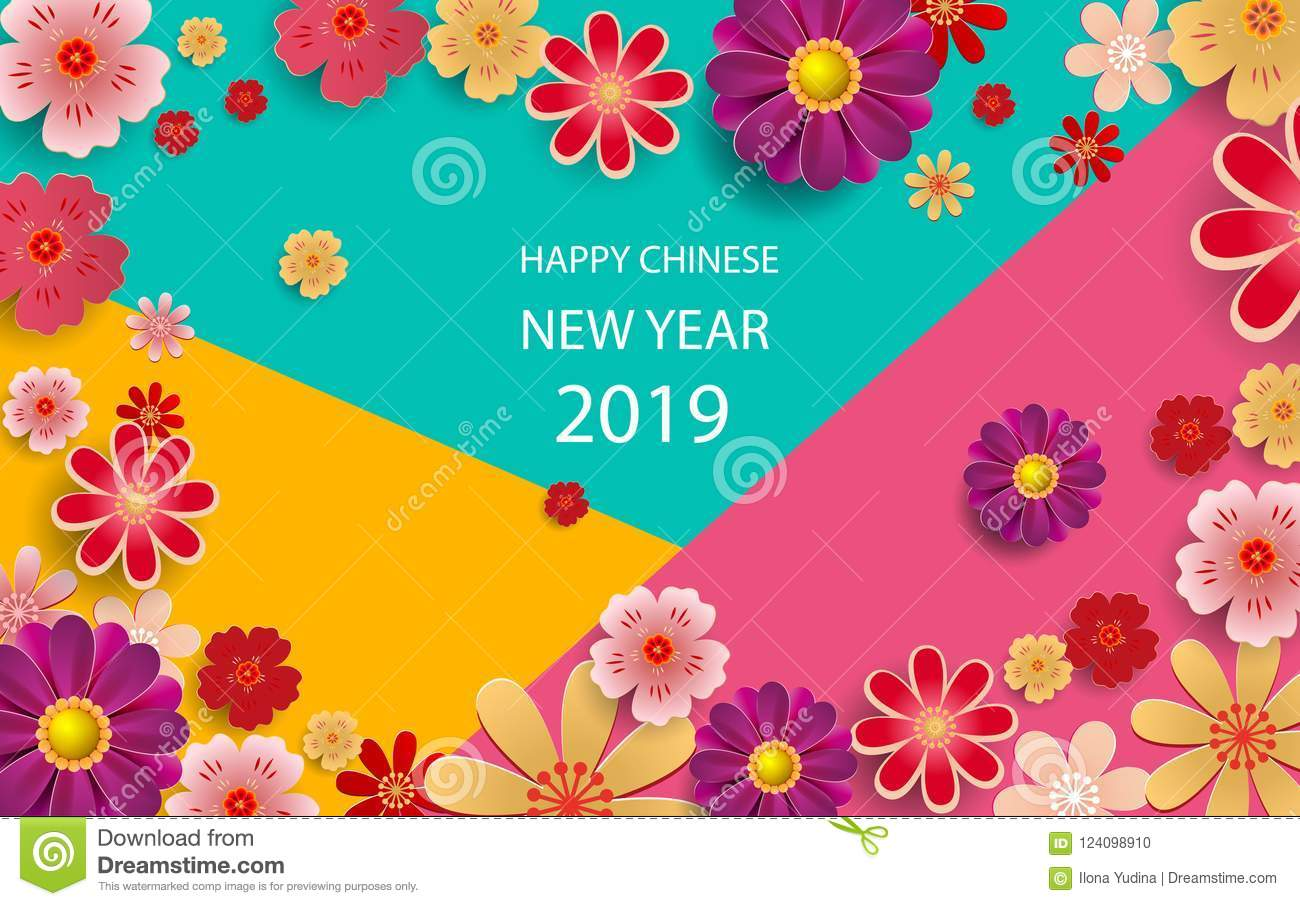 happy new year2019 chinese new year greeting card poster flyer or invitation design with paper cut sakura flowers vector illustration