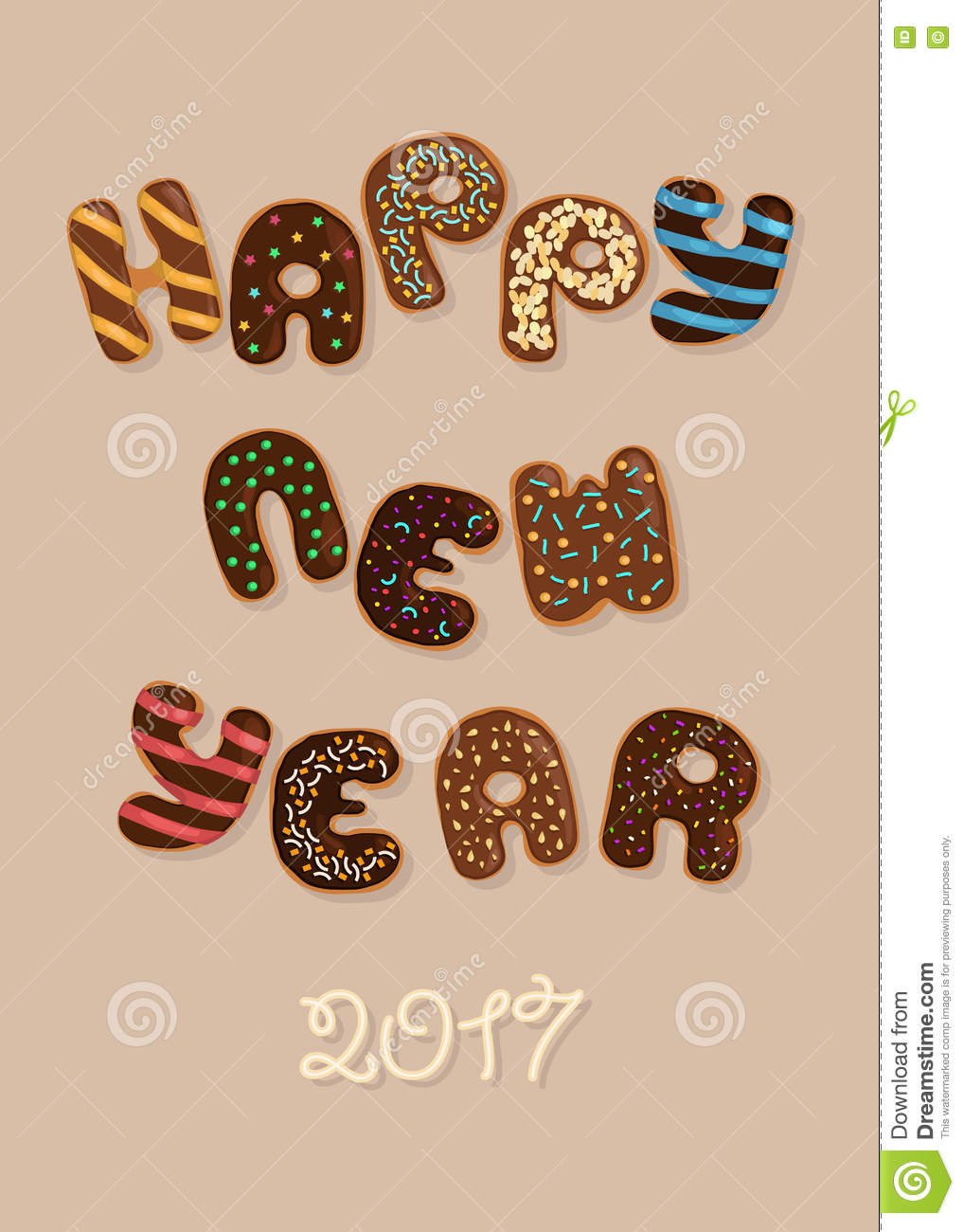 happy new year 2017 chocolate donuts
