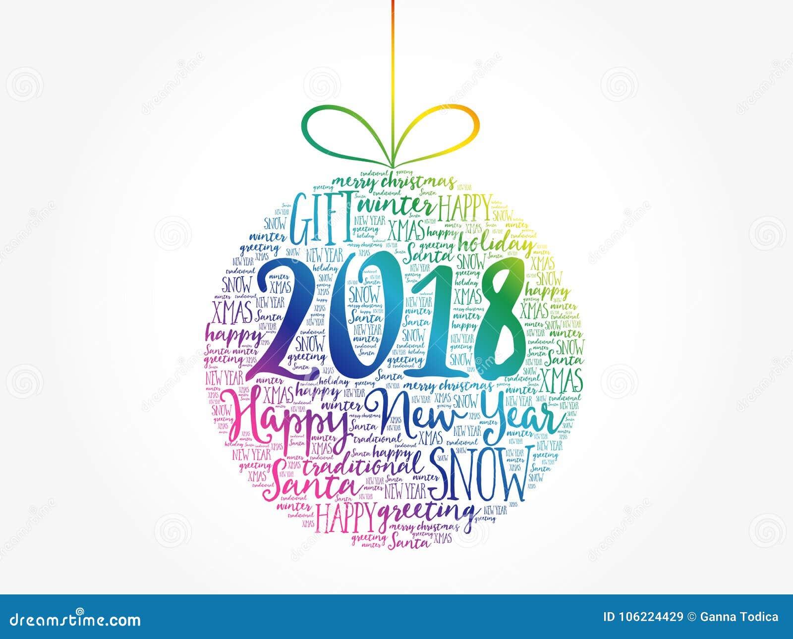 Happy New Year 2018, Christmas Ball Stock Illustration ...