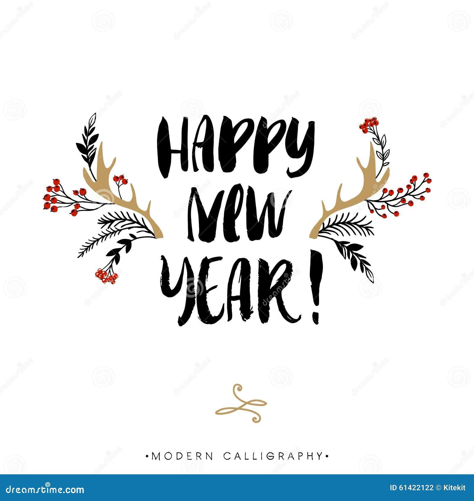Happy new year christmas calligraphy stock illustration