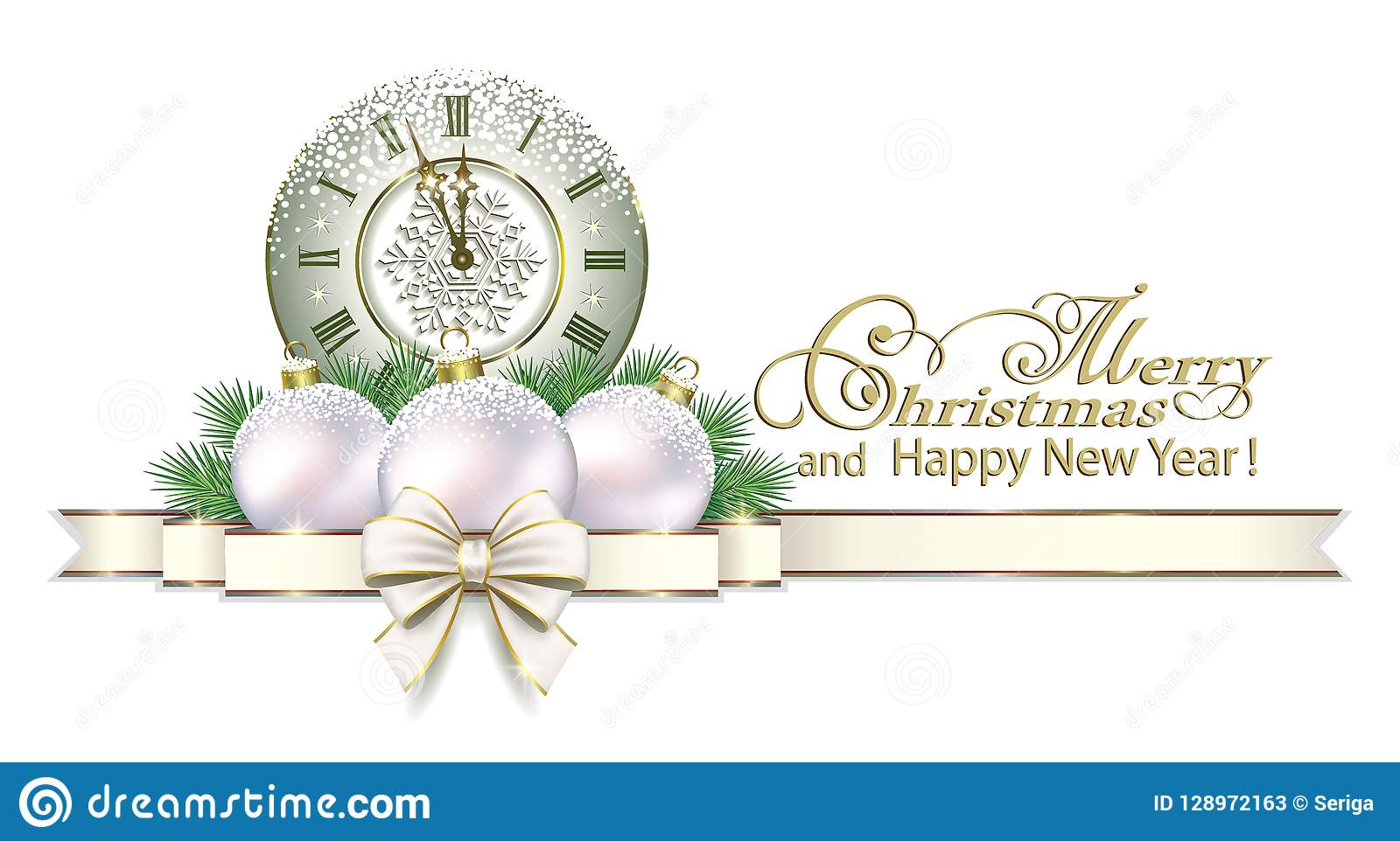 Happy New Year 2019 Christmas Card With Clock And Balls On A White