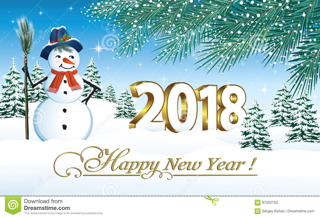 Happy New Year 2018 stock vector. Illustration of snow - 97502150