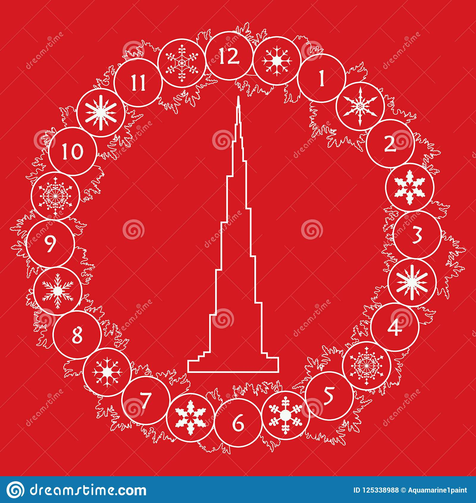 Happy New Year 2019 Christmas Card Wreath Tower Stock Vector