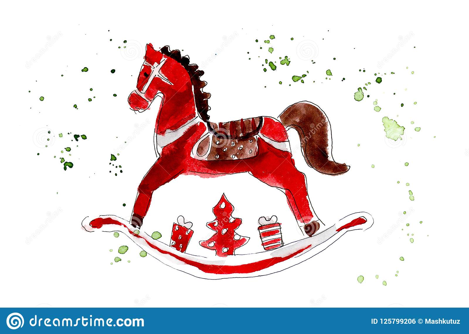 Christmas Horse Drawing.Christmas Toys Wooden Red Horse Watercolor Hand Drawing
