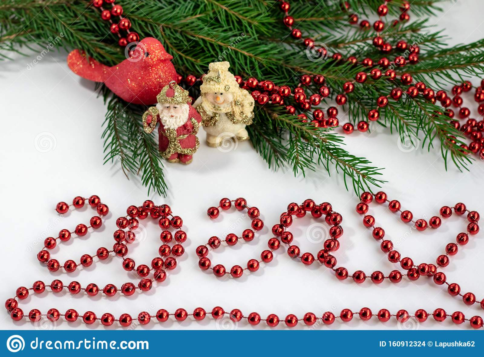 2020 Happy New Year Christmas Decoration Beads And Christmas Tree Idea Of Merry New Year 2020 Holiday Stock Photo Image Of Abstract Candy 160912324