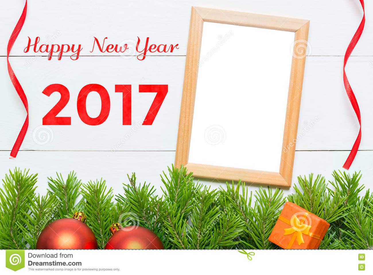 Happy new year 2017 christmas decoration and photo frame stock image image 77380011 for Photo decoration