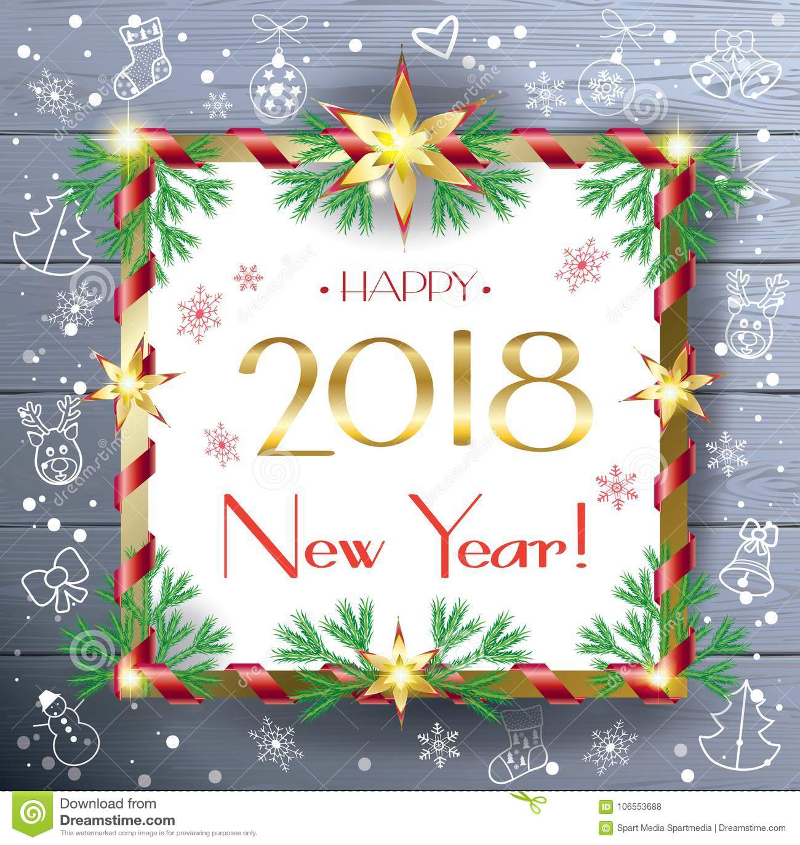 Christmas Gift Card Poster.2018 Holiday Christmas Greeting Poster Stock Vector