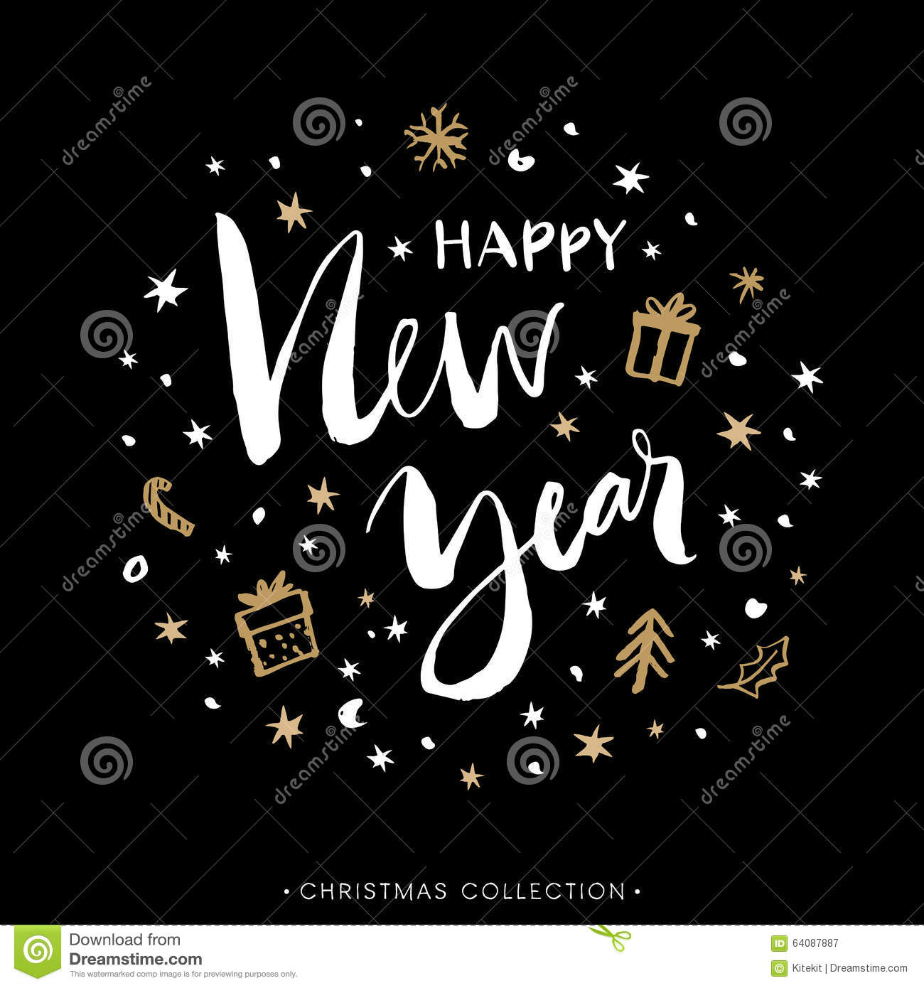 Happy new year christmas greeting card with calligraphy