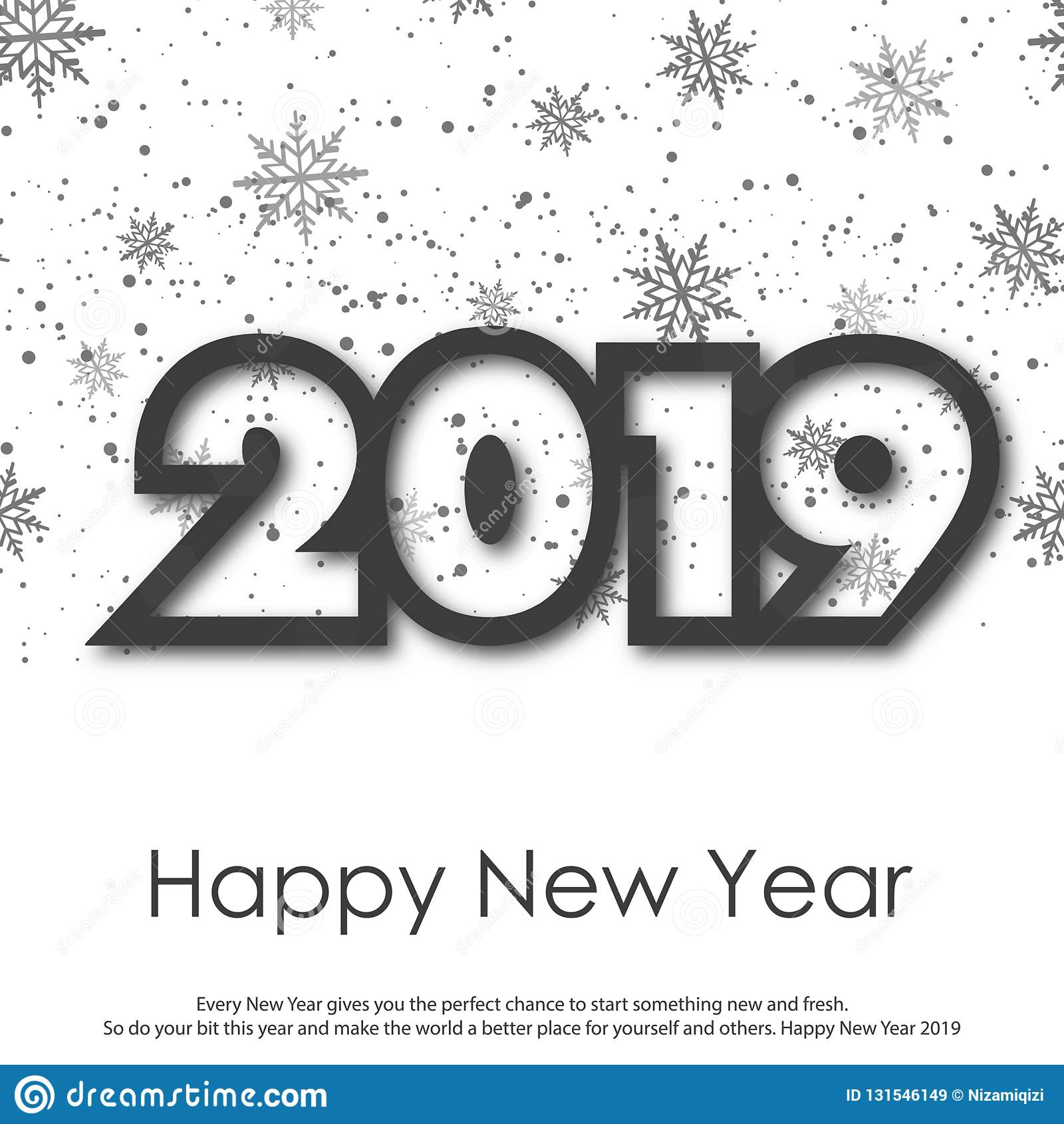 Happy New Year or Christmas greeting card with falling snowflakes. 2019. Vector royalty free stock images
