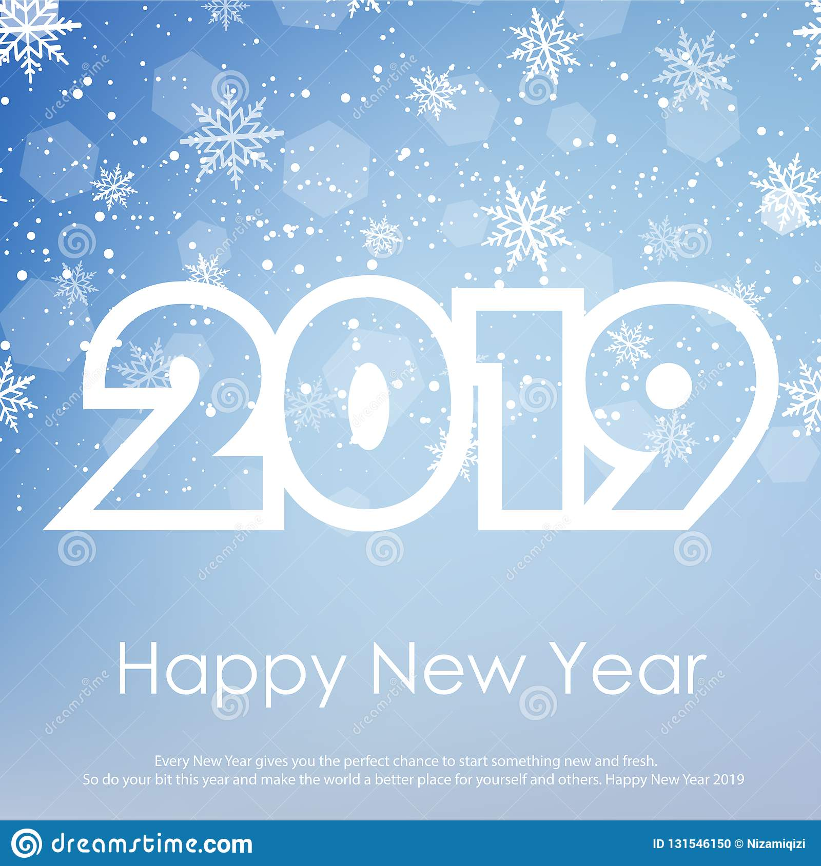 Happy New Year or Christmas greeting card with falling snowflakes. 2019. Vector stock photo