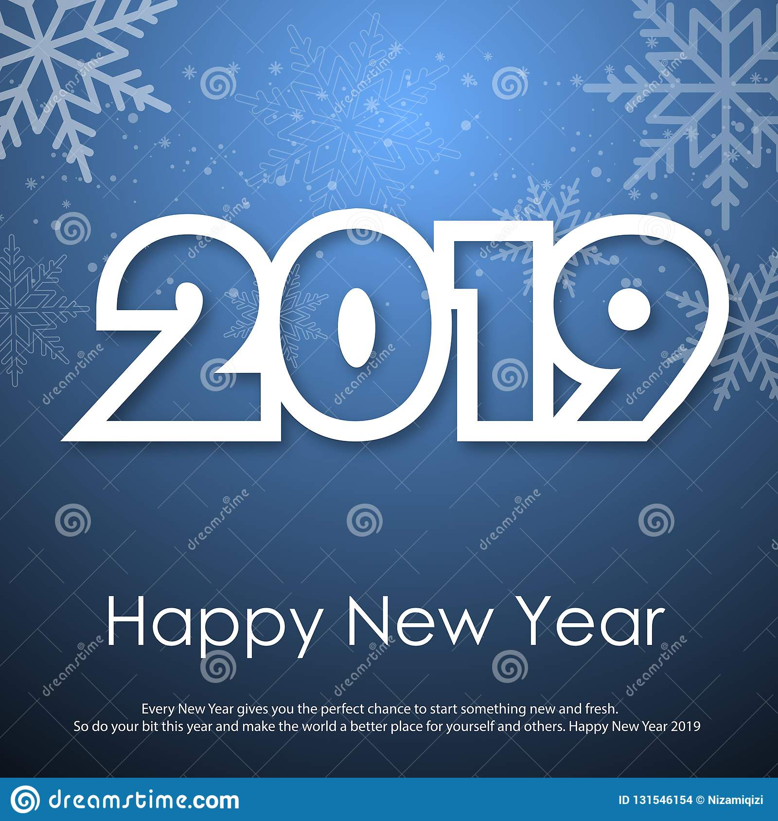 Happy New Year or Christmas greeting card with falling snowflakes. 2019. Vector stock images