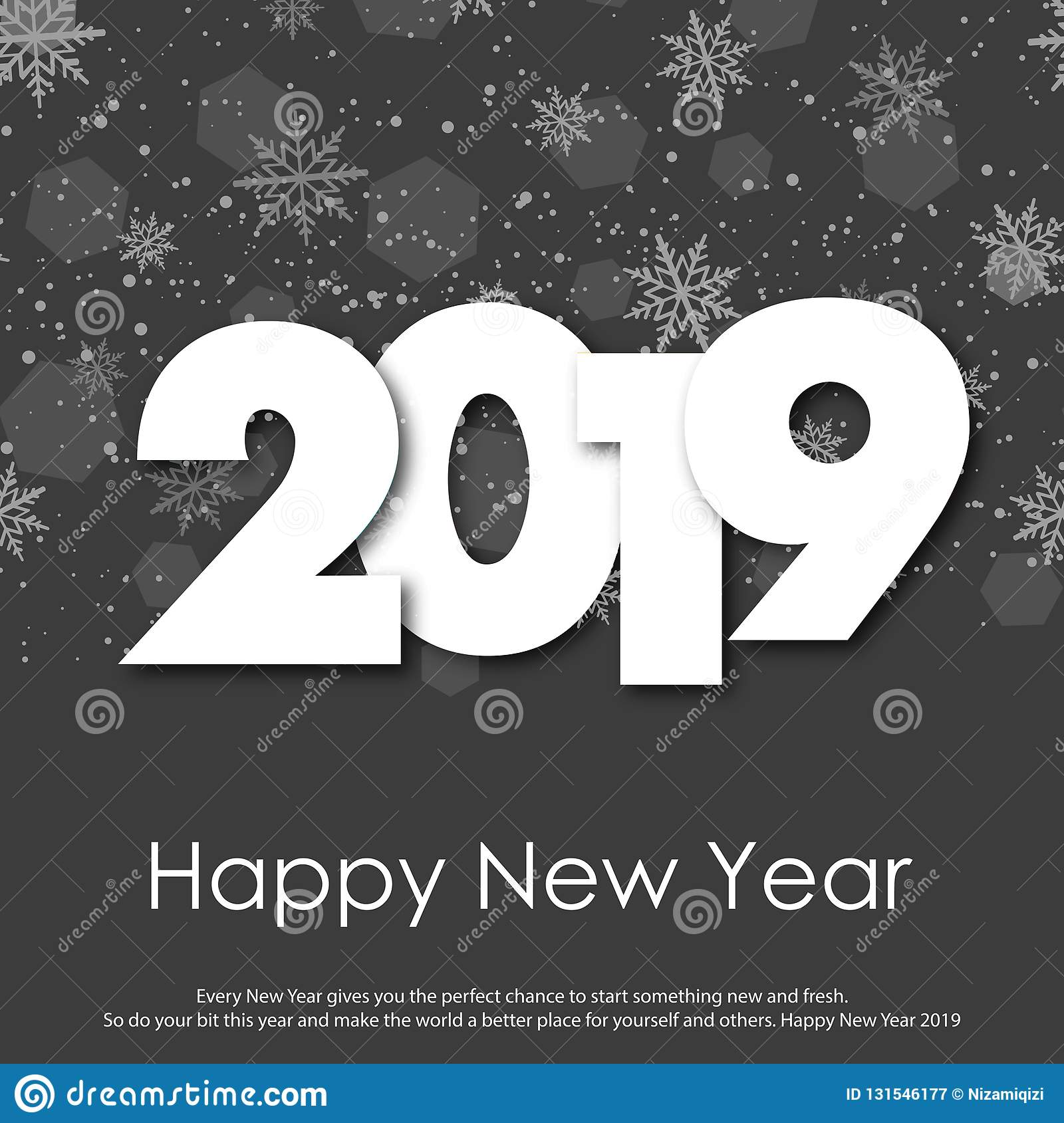 Happy New Year or Christmas greeting card with falling snowflakes. 2019. Vector royalty free stock photography
