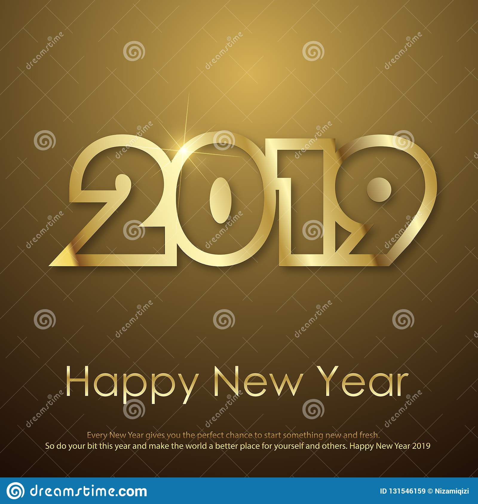 Happy New Year or Christmas greeting card gold text. 2019. Vector royalty free stock images