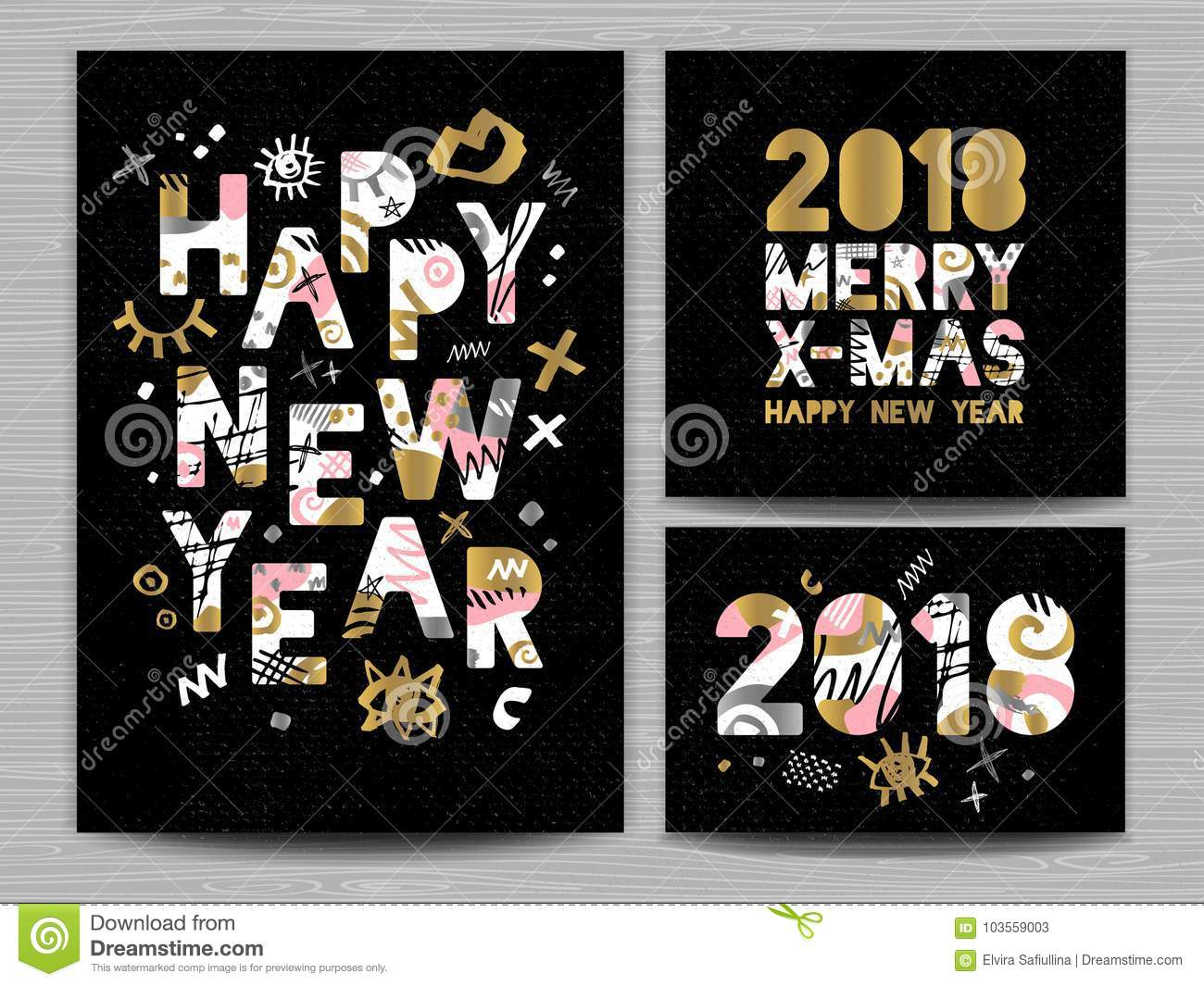 happy new year merry x mas lettering greeting card drawn vector elements black background gold silver pink black art hand drawn vector design
