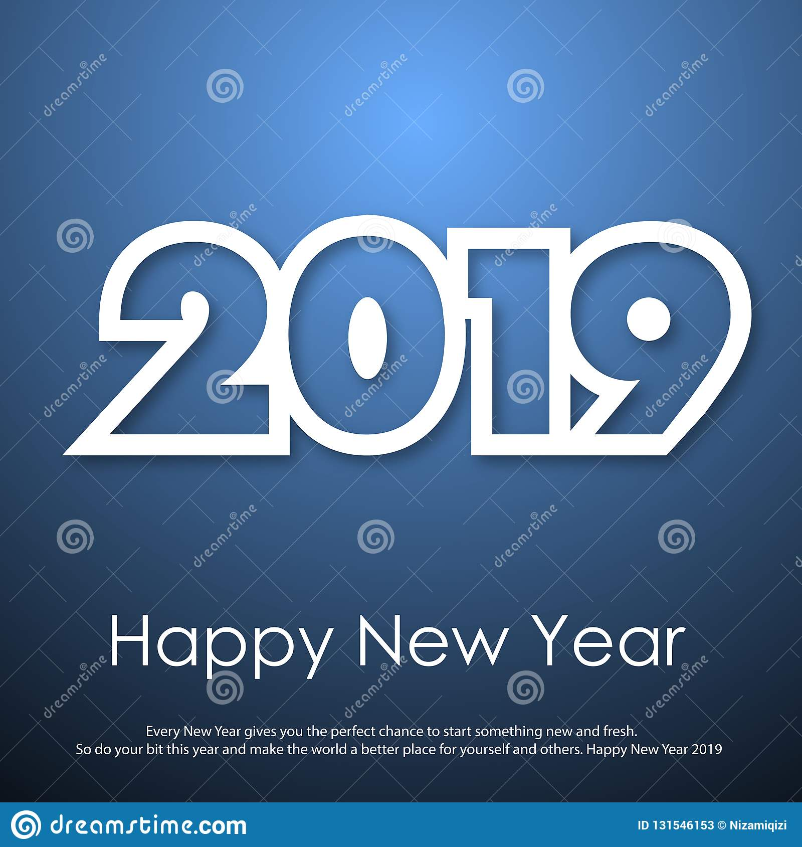 Happy New Year or Christmas greeting card with modern text. 2019. Vector stock photos