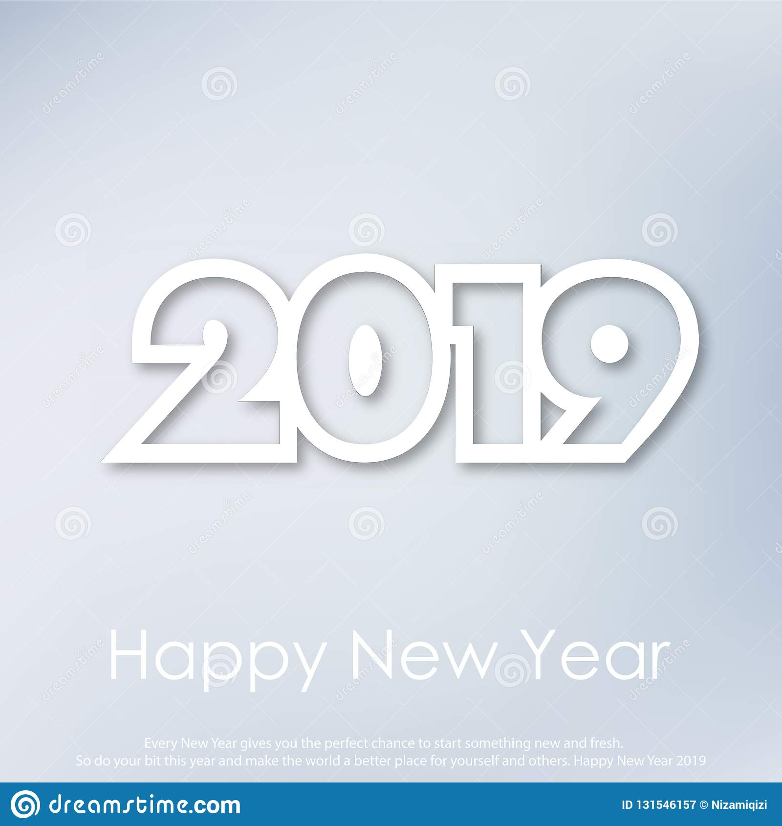 Happy New Year or Christmas greeting card with modern text. 2019. Vector royalty free stock photography