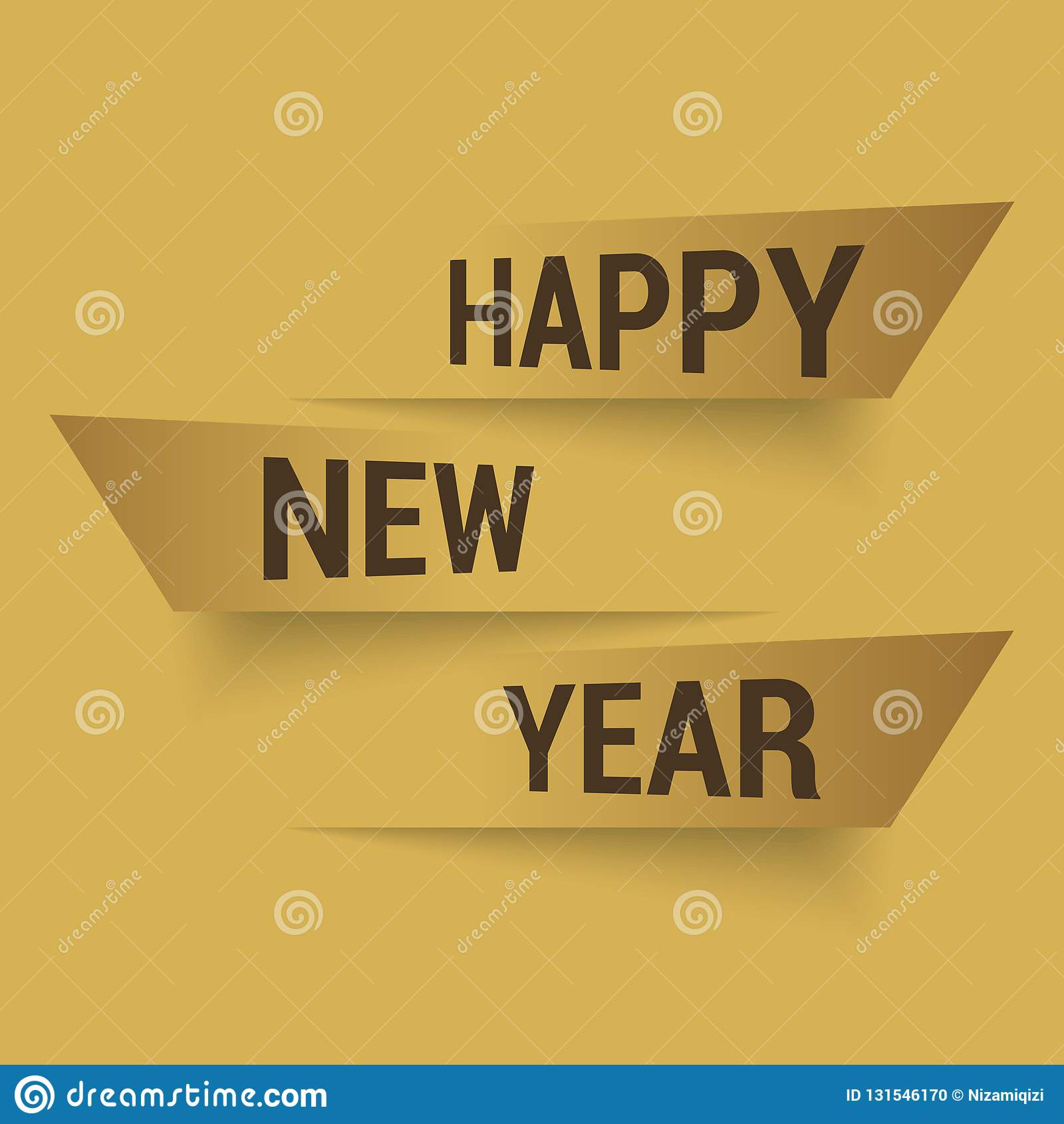 Happy New Year or Christmas greeting card with modern text. 2019. Vector stock photo