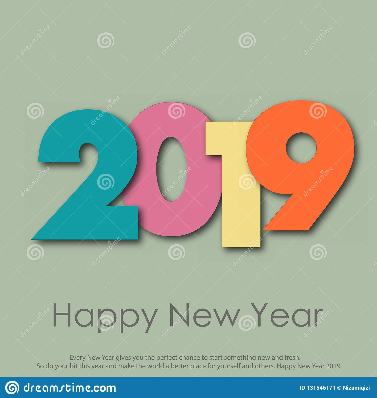 Happy New Year or Christmas greeting card with modern text. 2019. Vector stock image