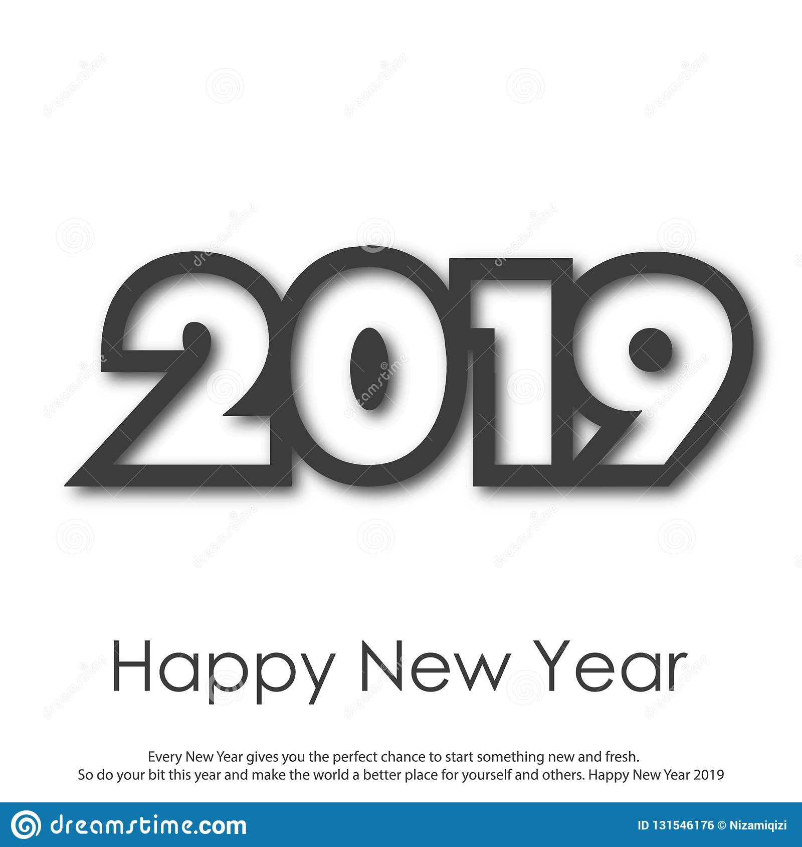 Happy New Year or Christmas greeting card with modern text. 2019. Vector royalty free stock image