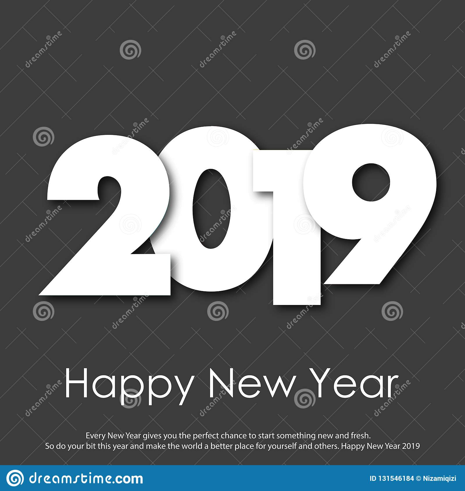 Happy New Year or Christmas greeting card with modern text. 2019. Vector stock images